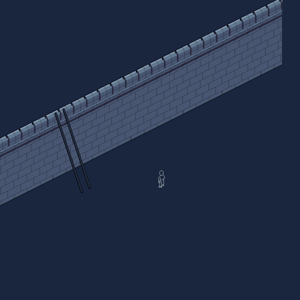 Now we have a wall, let's make a ladder for our figure to climb it.  This is just a couple of isometric lines going two pixels vertically for every one horizontally.
