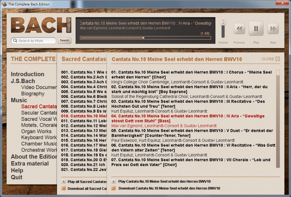 Browse or search through Bach's catalogue